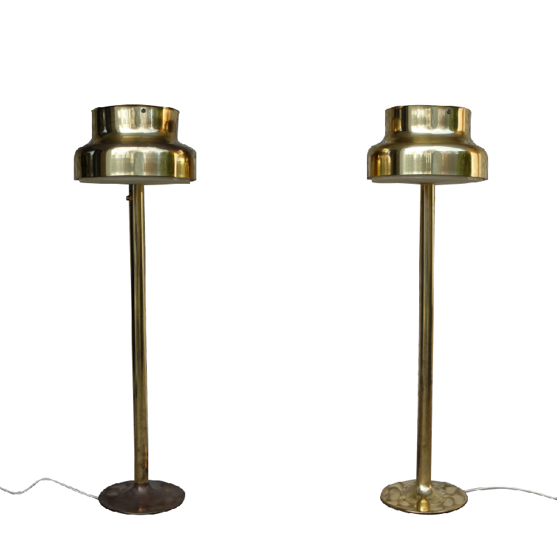 Bumling Brass Floor Lamp by Anders Pehrson for Ateljé Lyktan, Sweden, 1960s, Pair