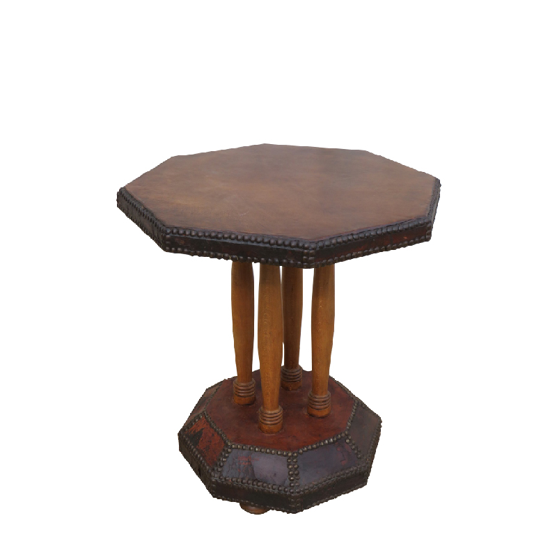 Art Deco Studded Leather Side Table