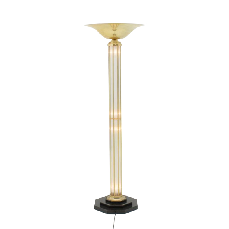 Brass & Glass Halogen Floor Lamp, Torchiere, France 1980s