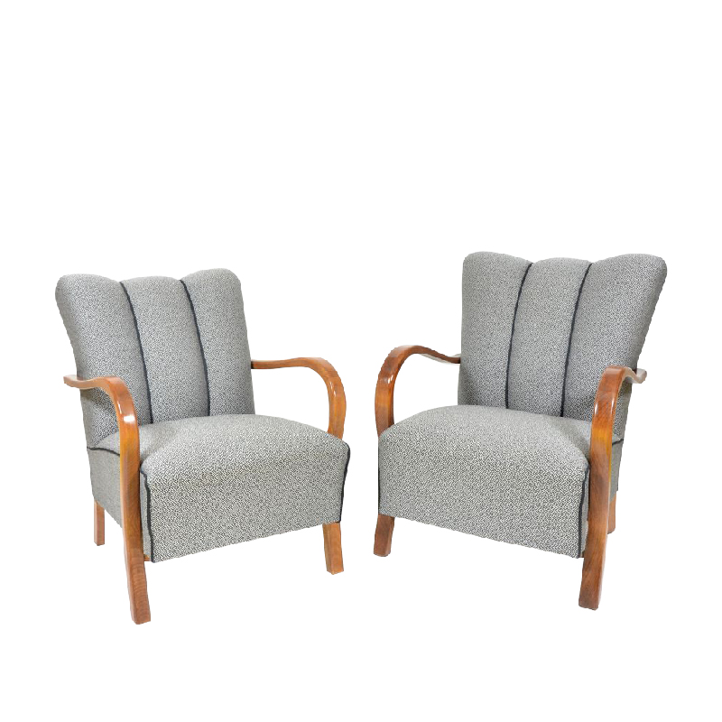 1950s Upholstered Armchairs by Jindrich Halabala