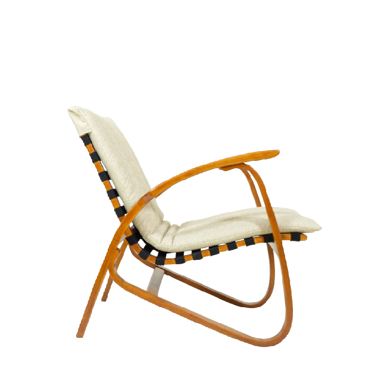 1940s Bent Beechwood Armchair By Jan Vaněk, Removable Cream Cushions