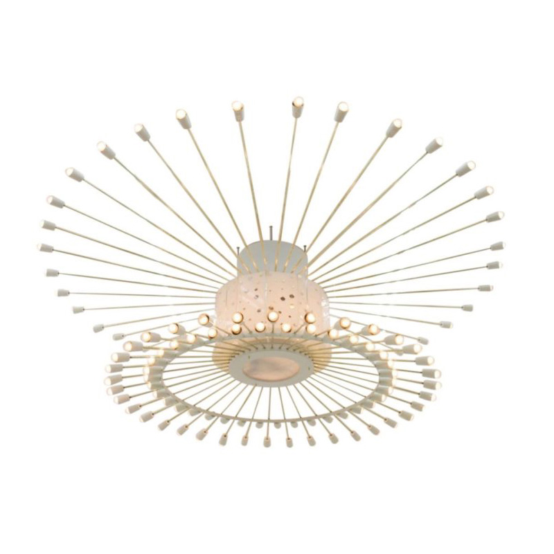 Spectacular Giant Sputnik Ceiling Lamp with 132 Bulbs, Brass, Lucite and Metal, 1950s