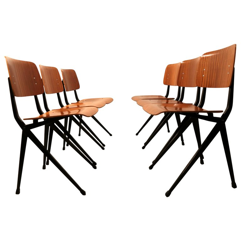 Vintage Pagwood Compass V Base Chairs By Ynske Kooistra For Marko Set Of 6