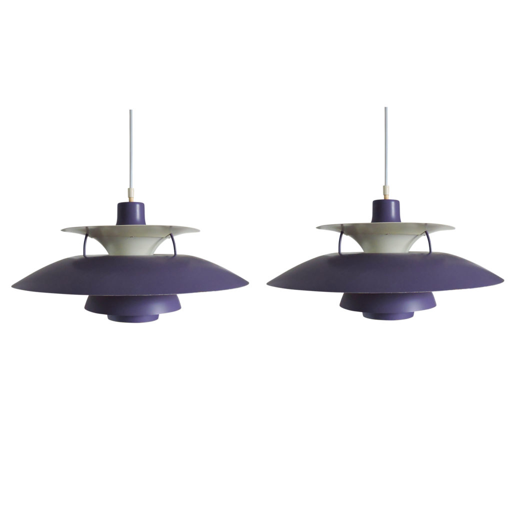 Pair of Purple PH5 Pendant Lamp by Poul Henningsen for Louis Poulsen, 1950s