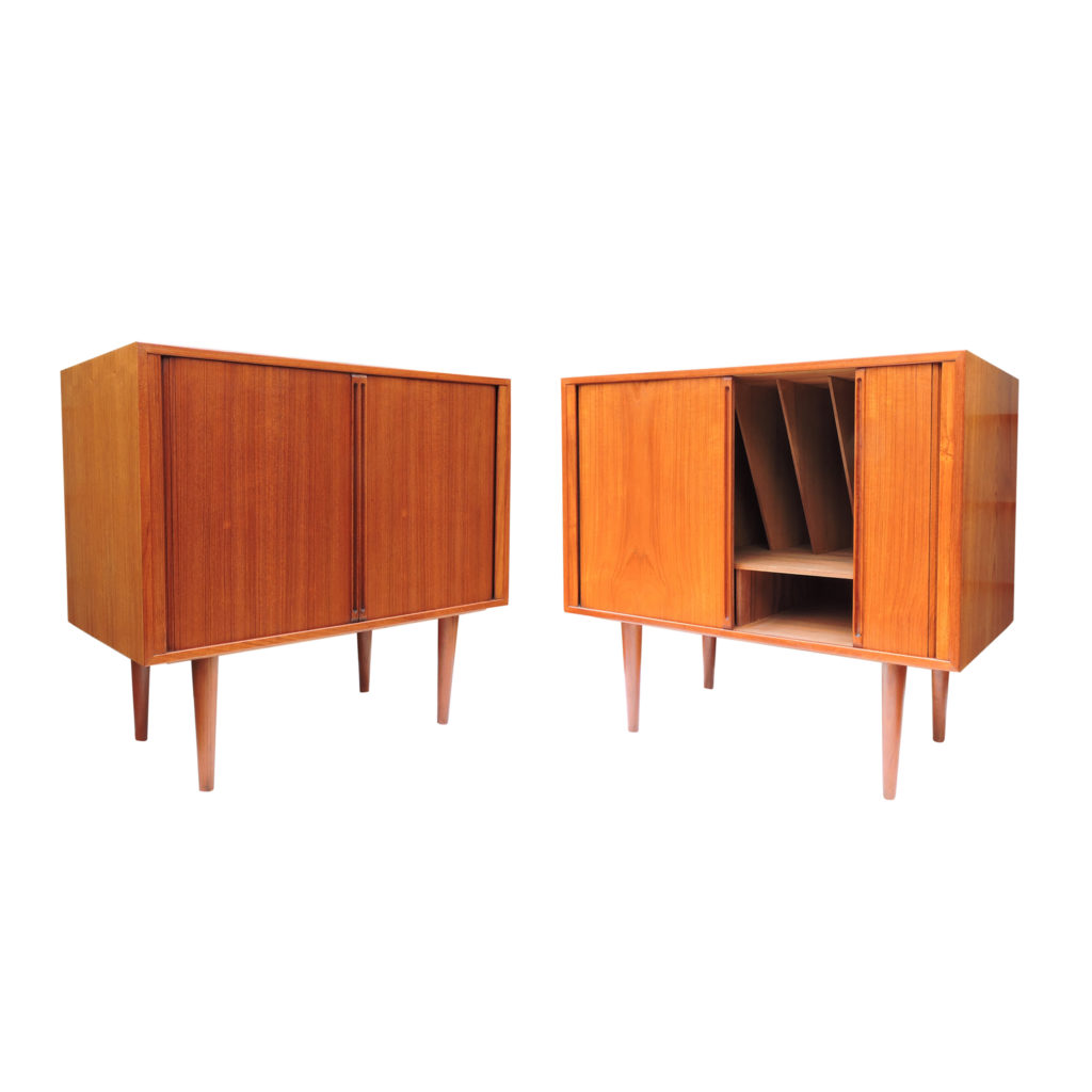 Pair of Danish Teak Record Player/Bar Cabinets by Kai Kristiansen for Fm Møbler,