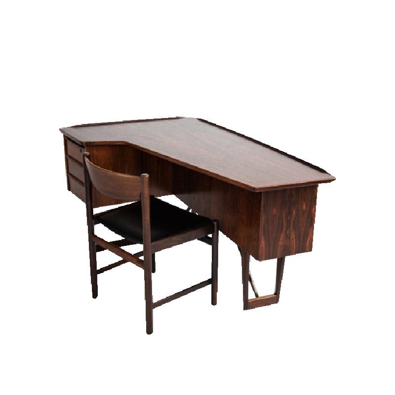 Boomerang desk in rosewood by Peter Løvig Nielsen for Hedensted
