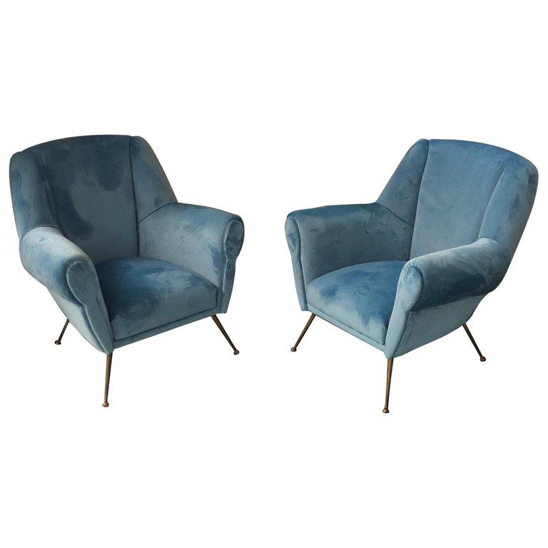 Mid-Century Modern Italian Light Blue Velvet and Brass Armchairs, 1950