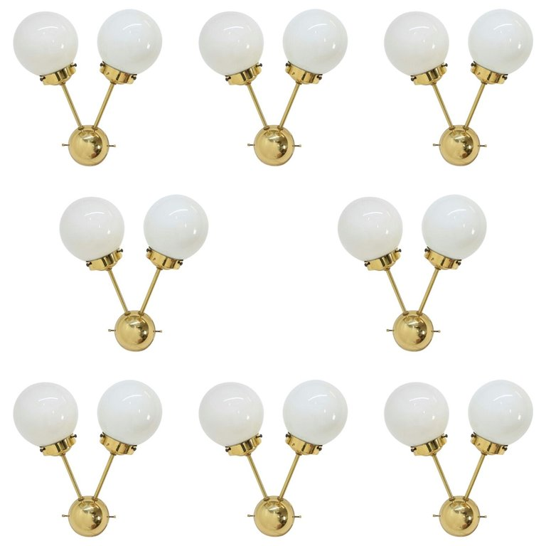Set of Eight Sputnik Brass Wall Lamps, 1970s