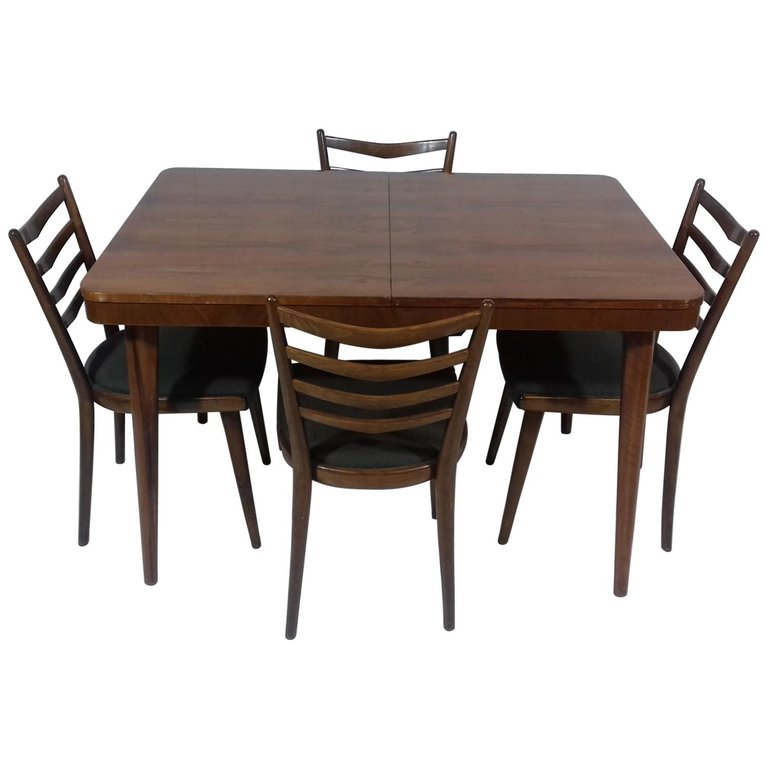 Set of Extendable Table and Four Chairs by Jindřich Halabala, 1930s