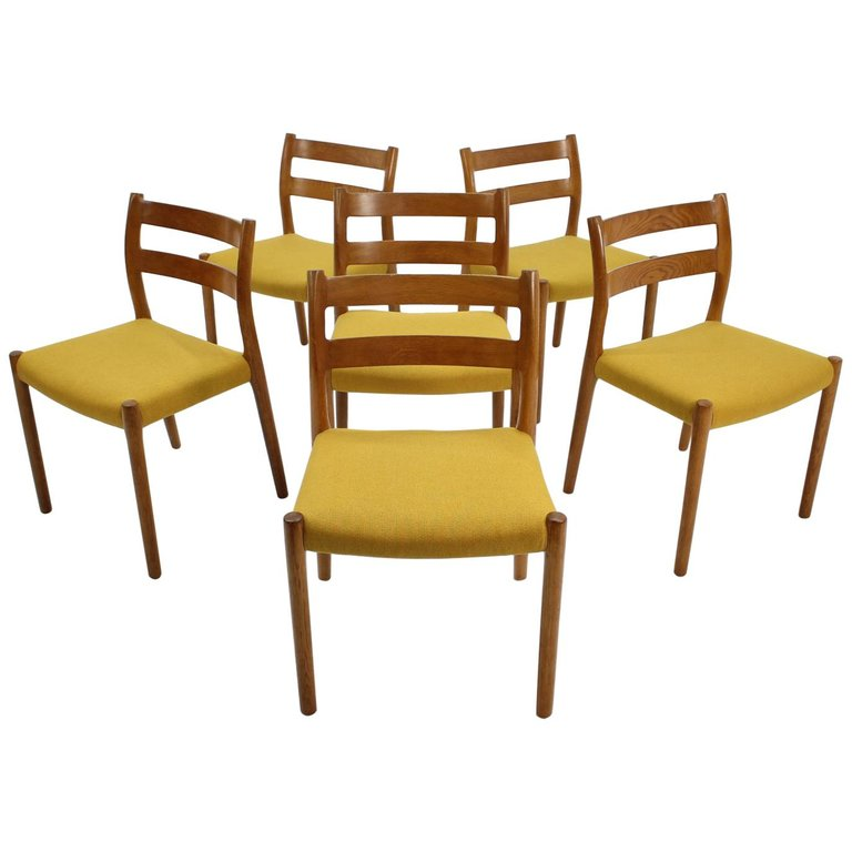 1960 Oak Dining Chairs by N.O. Møller, Set of 6