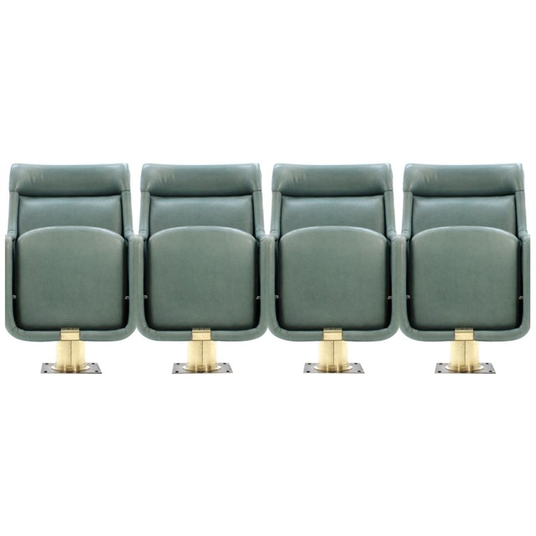 Set of Four Leather Theater Armchairs by Arch. Karel Prager, 1970s