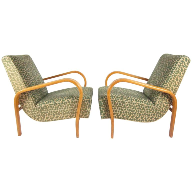 Pair of Armchairs by Jindřich Halabala for UP Závody Brno, the 1940