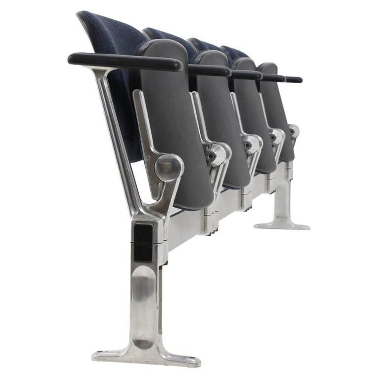 Aluminium Four-Seat Bench by Giancarlo Piretti for Castelli, 1970s
