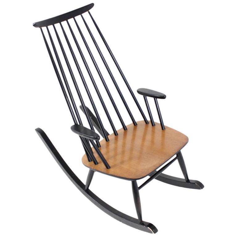Vintage Finnish Rocking Chair by Varjosen Puunjalostus for Uusikylä, 1960s