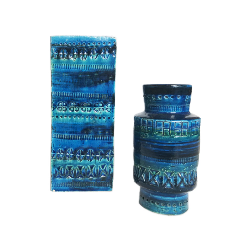 Bitossi Rimini Blue Pair of Vases, Aldo Londi, Italy. Set of 2.