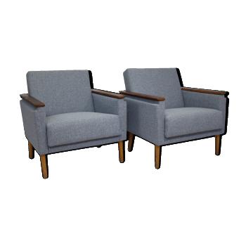 Paire de fauteuils cube tissu chiné bleu Allemagne 60