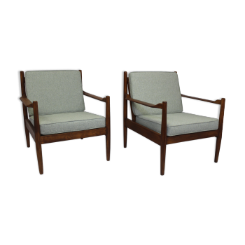 Paire de fauteuils style scandinave années 5060 tissu bleu chiné