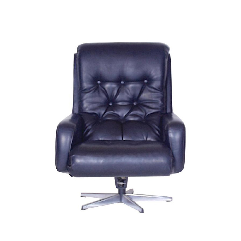 Midcentury Finland Leather Swivel Chair by Peem, 1970s