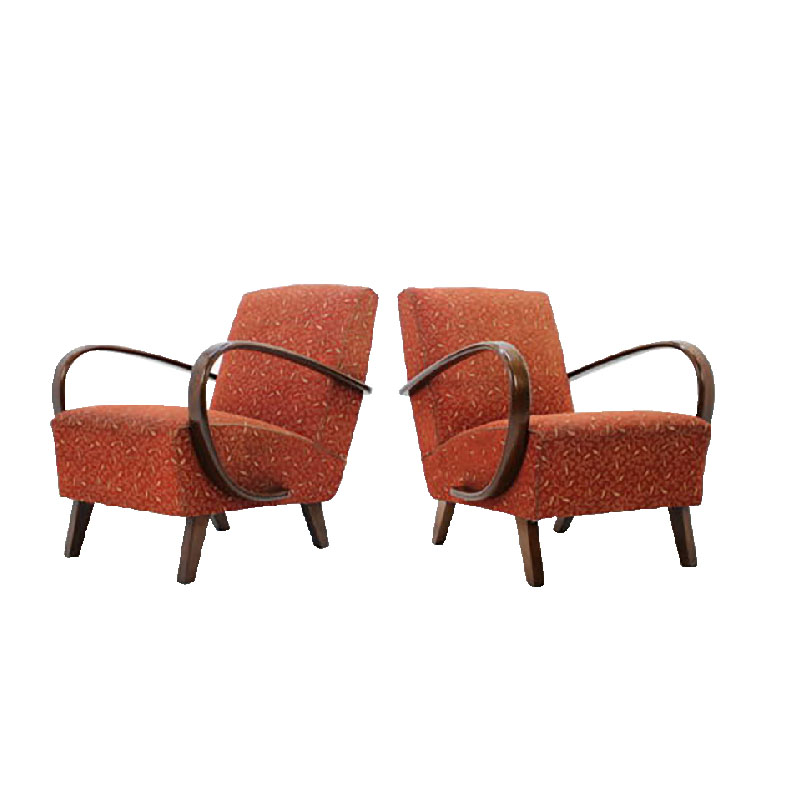 Set of two retro armchairs by Jindřich Halabala, 1950's.