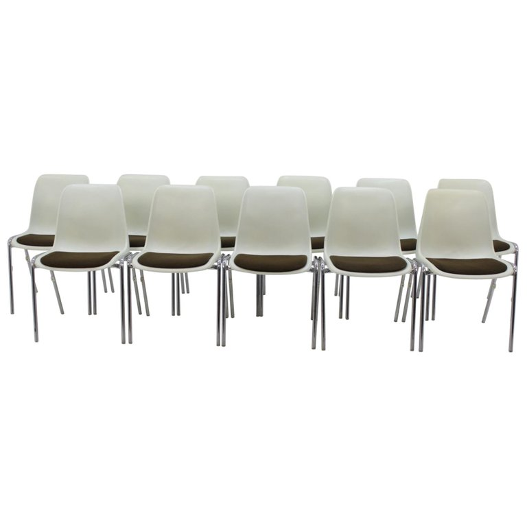 Set of 11 Midcentury Chairs Europa Designed by Helmut Starke, 1980s