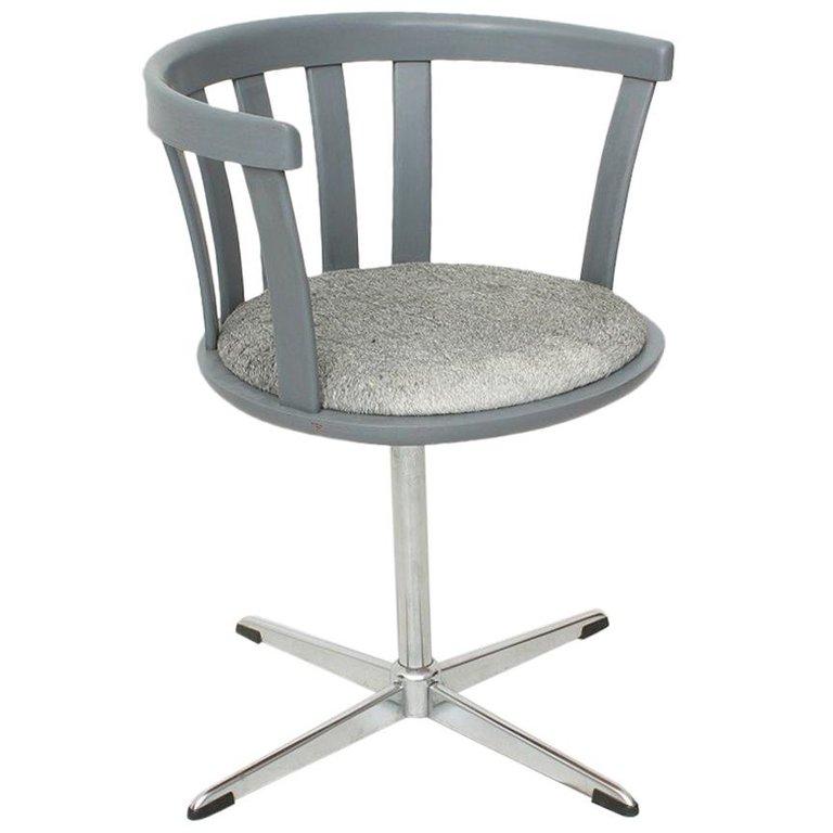 Grey Vintage Swivel Armchair, 1970s