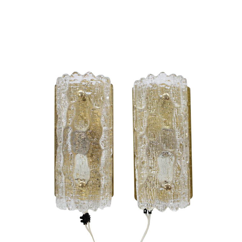 1960'S Carl Fagerlund for Orrefors Glass Wall Sconces,set of 2