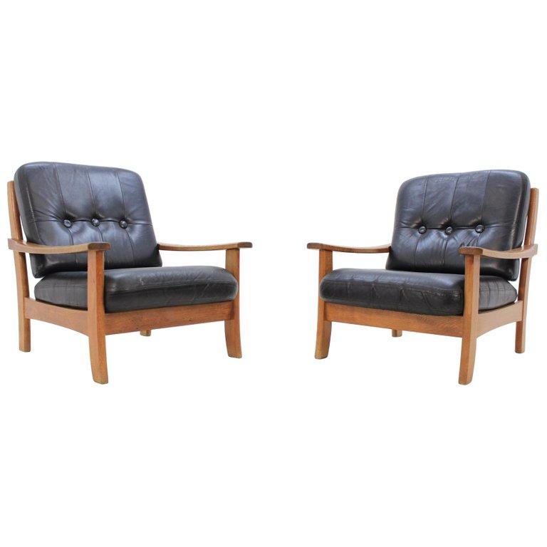 Set of Scandinavian Black Leather Armchairs, 1960s