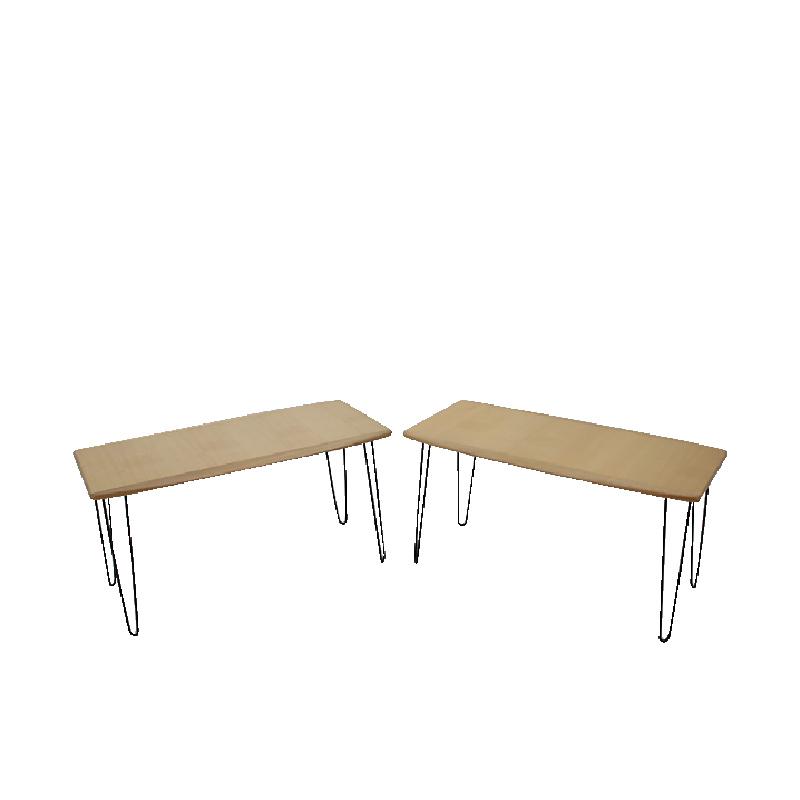 1960s Oak coffee table on hairpin legs, set of 2