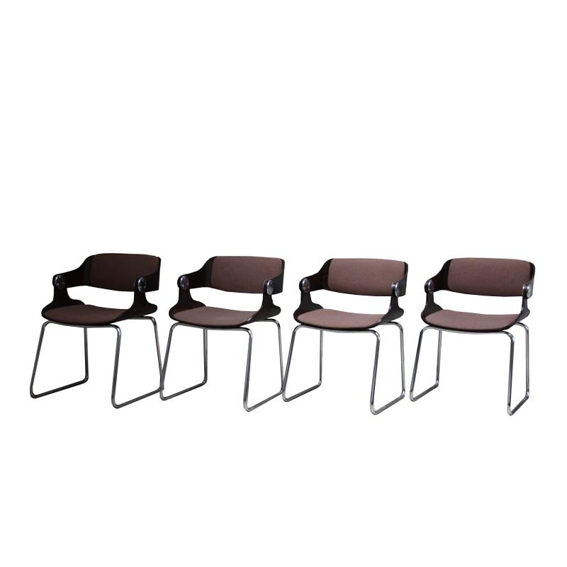 Set of 4 armchairs in bentwood and original fabric – Eugen Schmidt – Germany – 1960's