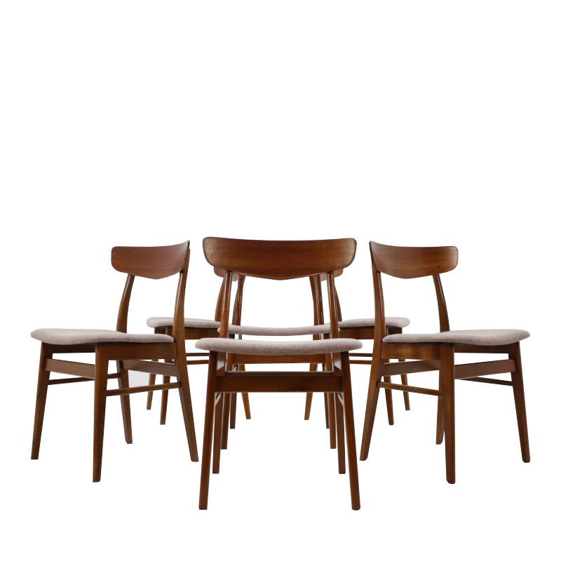 Set Of 6 Teak Dining Chairs Denmark, 1960