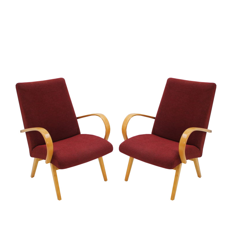 In style of Jindřich Halabala armchairs, 1960s