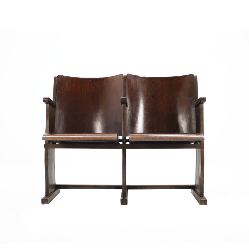 2-seater of cinema chairs / bench, 1950s