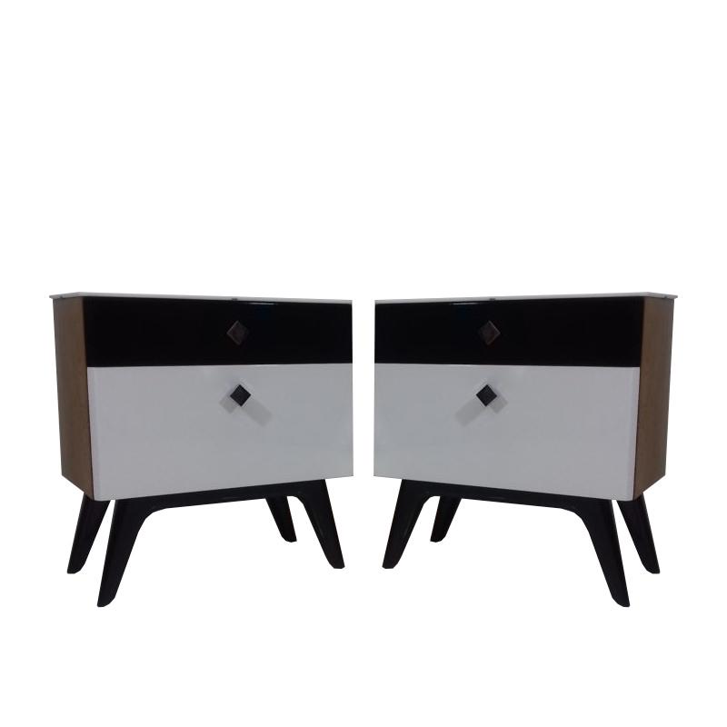 Set of two bedside table designed by Jindřich Halabala, 1951