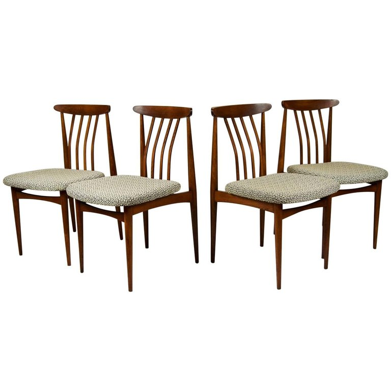 1960 Set of Four Original Upholstered Dining Chairs