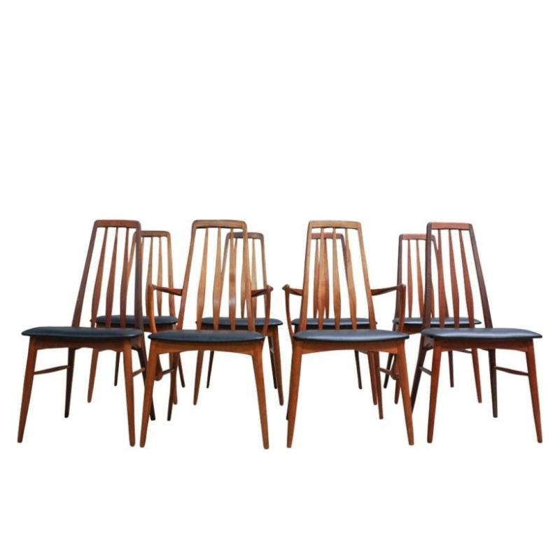 Eva Dining Chairs by Niels Kofoed for Koefoeds Mobelfabrik, 1960s, Set of 8