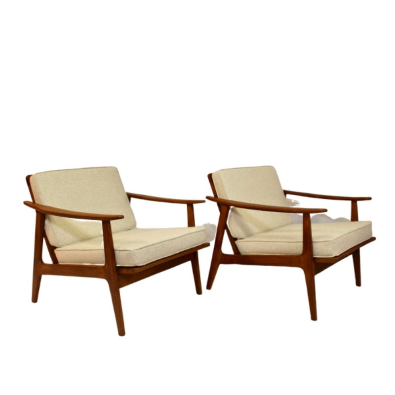 Pair of 50/60 Scandinavian style armchairs beige fabric