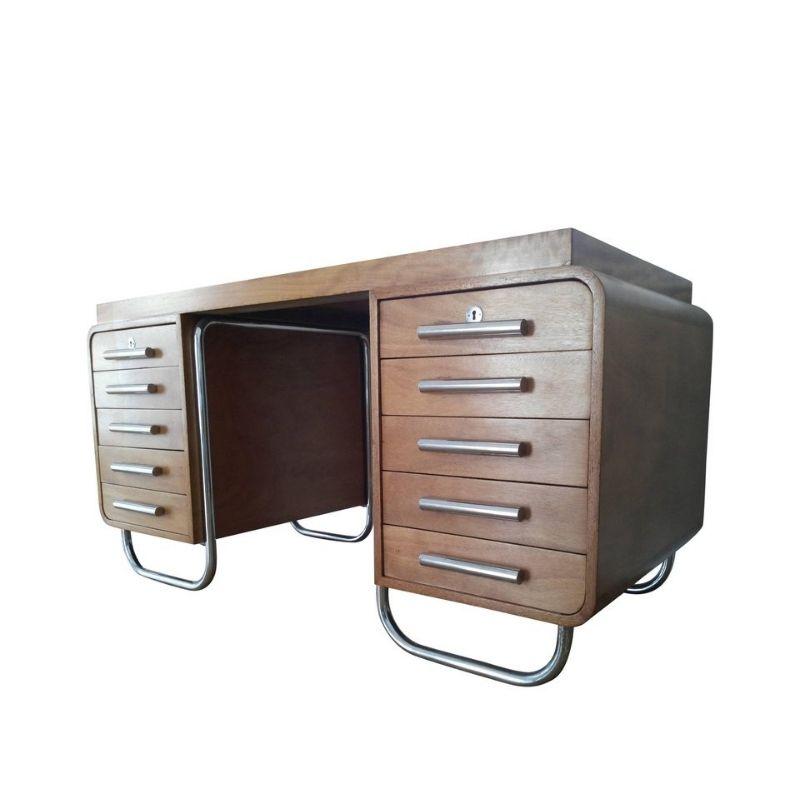 Rare Extraordinary Bauhaus Chrome Writing Table or Desk 1930s