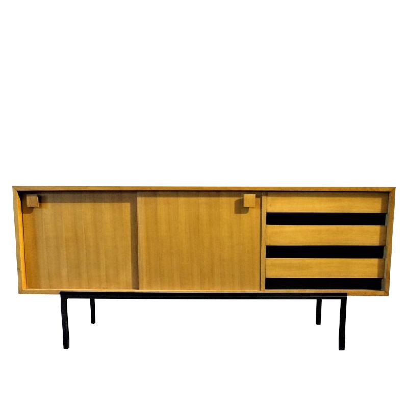 Modernist Sideboard In Natural Wood, France 50s