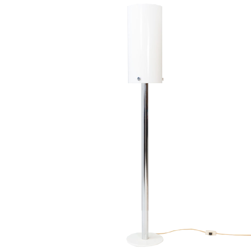 Cylindrical Chrome and Perspex Floor Lamp
