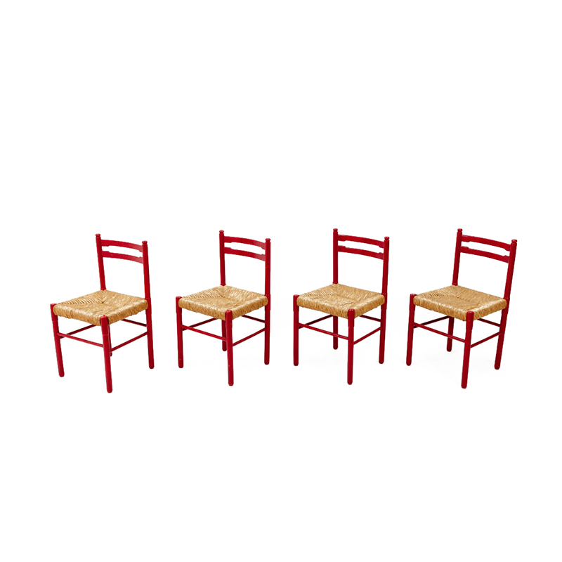 Red Dining Chairs Rattan, 1960s