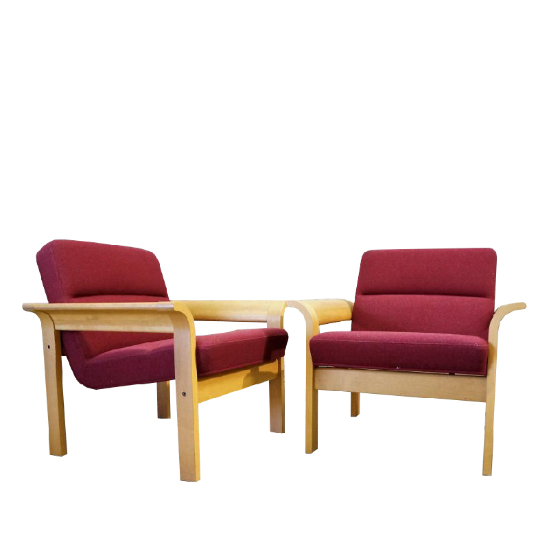 Pair Of Scandinavian Armchairs In Natural Wood And Fabric