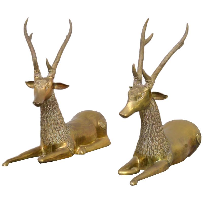Pair of Brass Deer Sculptures
