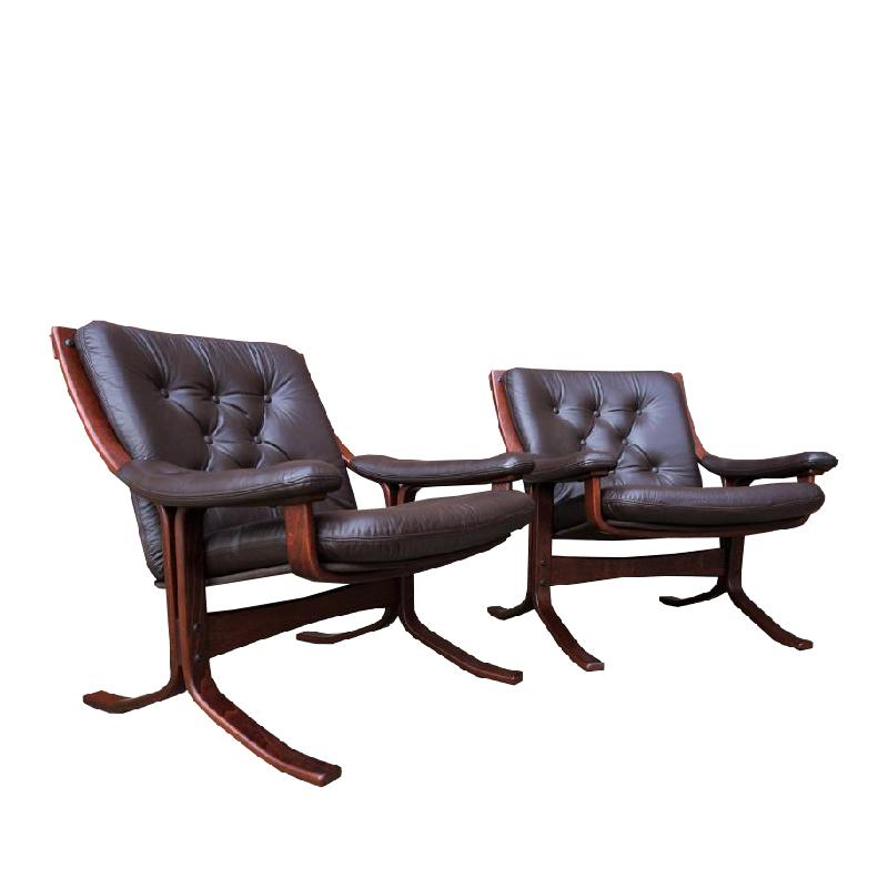 Pair Of Scandinavian Leather Armchairs