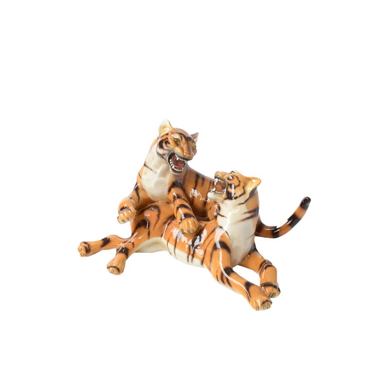 Porcelain Sculpture of Playing Tigers by Ronzan, Italy