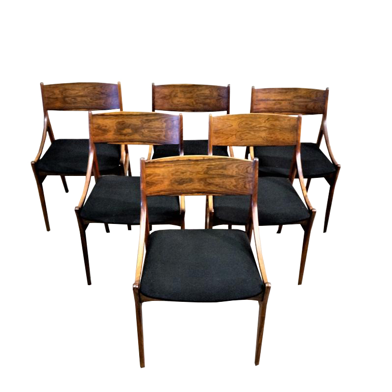 Series Of 6 Rosewood Chairs, V. Eriksen