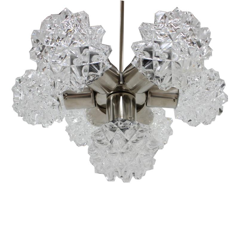 Mid-century glass chandelier , Kamenický Šenov, 1960´s