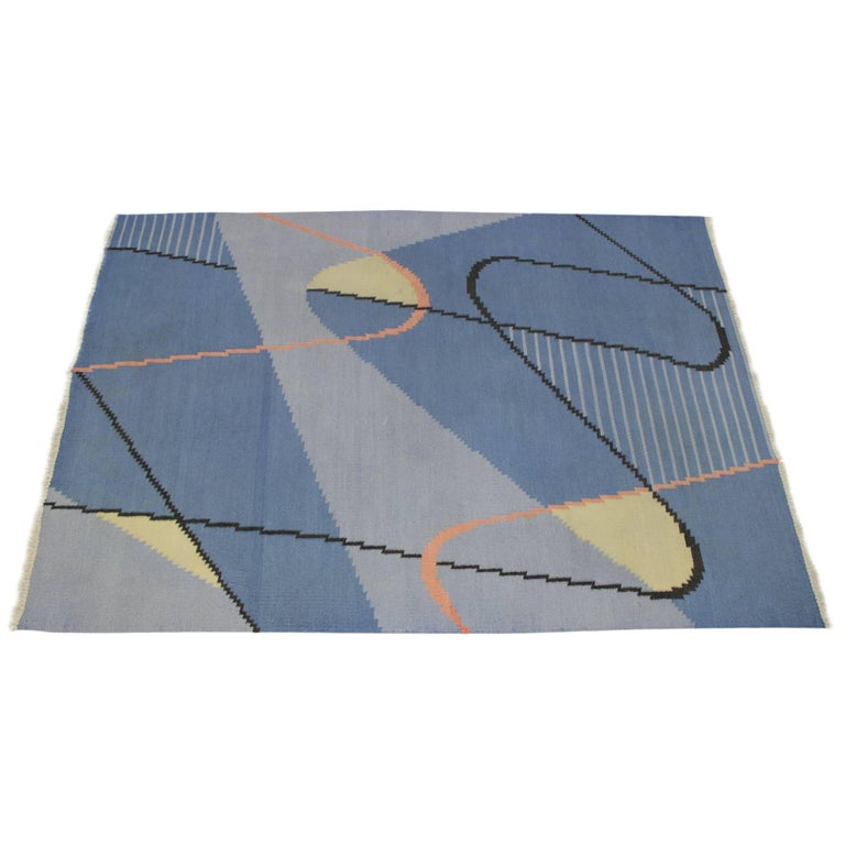 Geometric Modernist Kilim Carpet by Antonín Kybal
