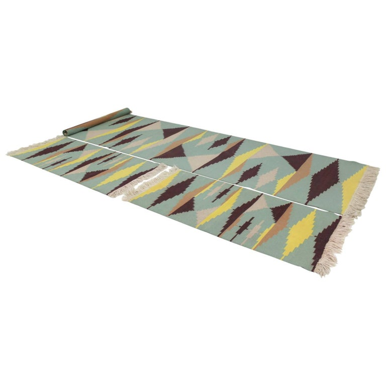 Set of Three Geometric Modernist Carpets in Style of A. Kybal