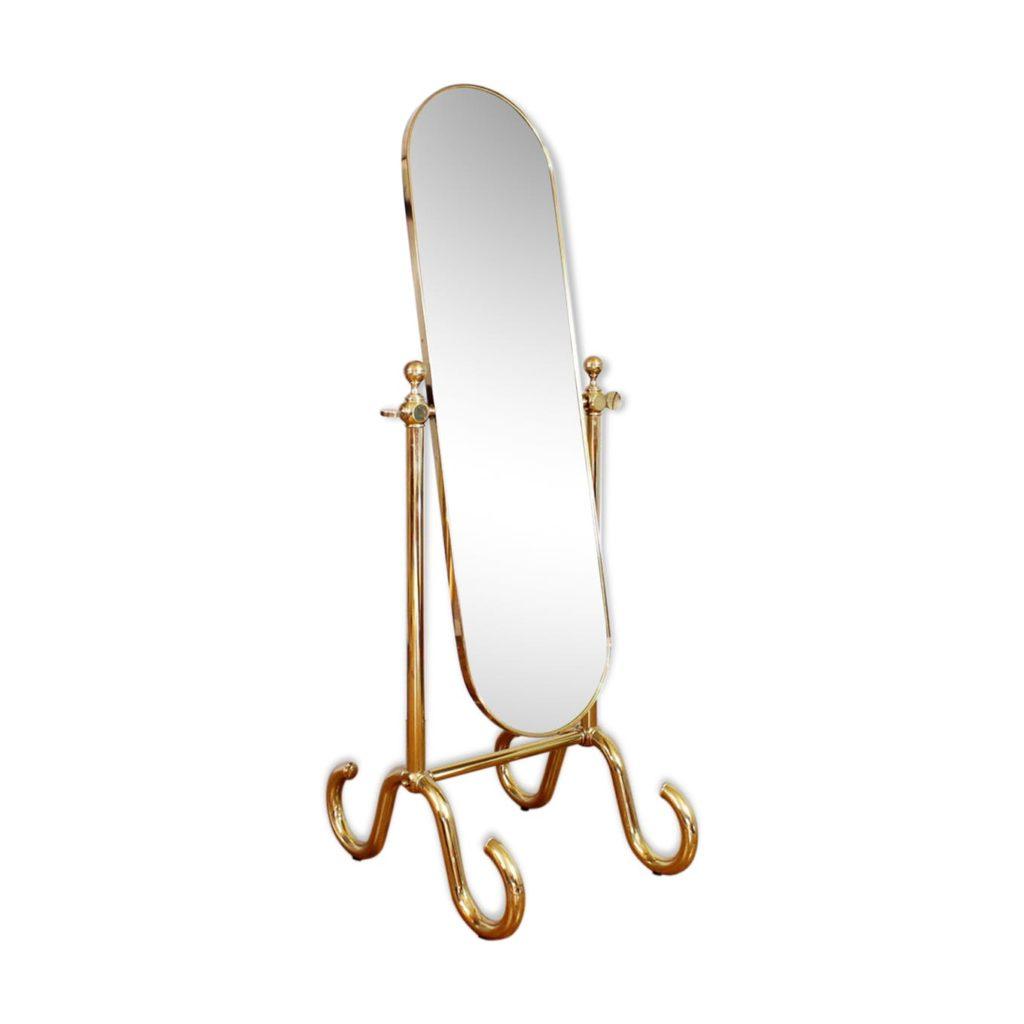 Grand miroir psyché années 60 en laiton