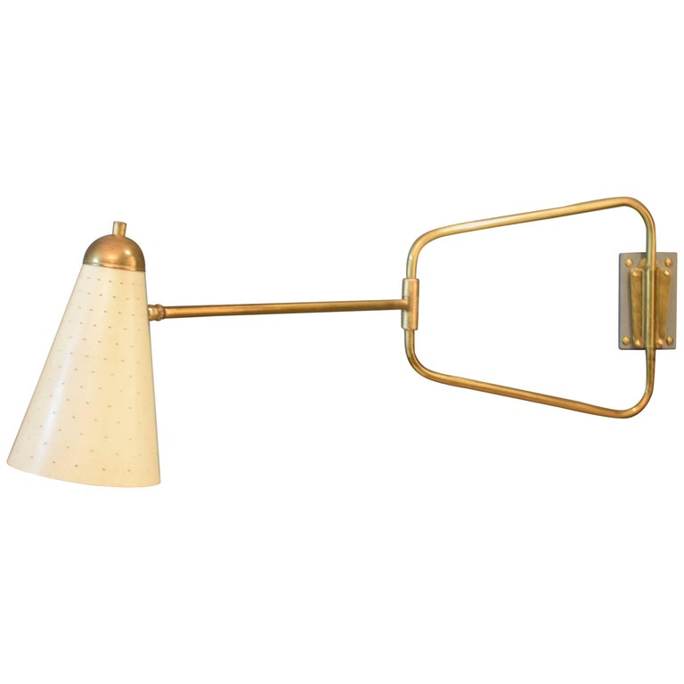 Mid-Century French Brass Swing Wall Light/Scone by Jacques Biny, 1950s